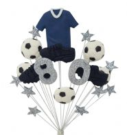 Football 80th birthday cake topper decoration blue shirt - free postage